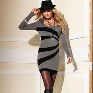 | Venus | grey black sweater dress